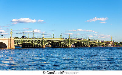 View of Trinity Bridge in Saint Petersburg - Russia