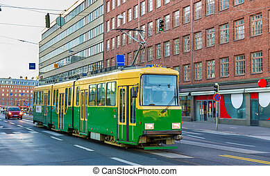 Tram in the city centre of Helsinki - Finland