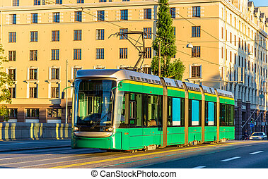 Tram on the Long Bridge in Helsinki - Finland