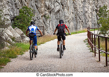 Mountain Bike cyclist riding track - Mountain Bike cyclist...
