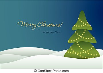 Christmas tree on blue background card