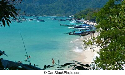 Tropical Beach Crowded with Tour Boats