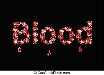 Ruby Word Blood - Word blood made of red gems
