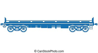 Open platform Railway freight car - Vector railcar