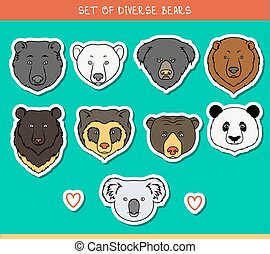 Set 9 muzzles stickers bears handmade, linear style. Bear faces