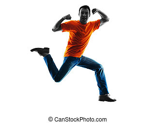 man jumping happy silhouette isolated