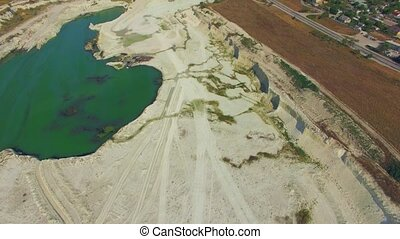 AERIAL VIEW Green Lake In Quarry In Bakhchisarai, Crimea -...