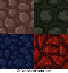 Set of pixel stone textures