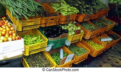 Display of Fresh Vegetables in an Asian Marketplace -...