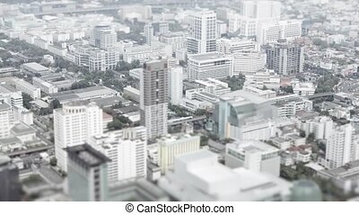 Asian city. Top view with shallow depth of field effect -...