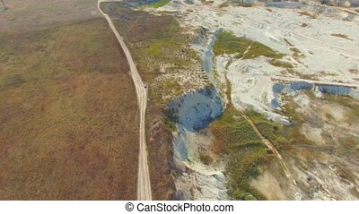 AERIAL VIEW Limestone Open Cast In Bakhchisarai, Crimea -...