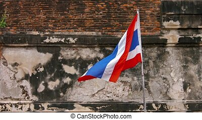Patriotic Image of the Thai Flag Fluttering in the Breeze -...