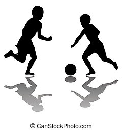 kids playing soccer (black) isolated on white background,...
