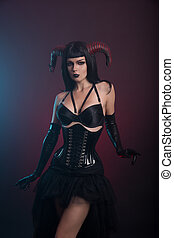 Sexy demon girl with horns - Sexy demon girl with horns,...