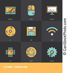 Electronics / Technology Vecotor Grunge Icons VOL.1
