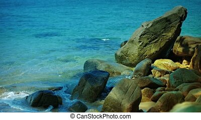Beautiful, Boulder-Strewn, Tropical Beach in Southern...