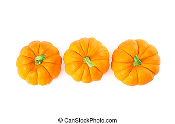 Decorative orange pumpkins, top view isolated on white...