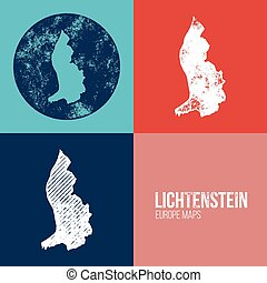 Lichtenstein Grunge Retro Map - Three silhouettes...