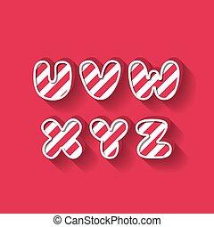 U V W X Y Z - Christmas Candy Alphabet