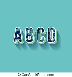 A B C D - 3D Plastique Alphabet - Typography with grunge...