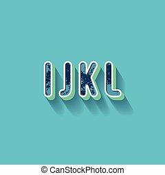I J K L - 3D Plastique Alphabet - Typography with grunge...