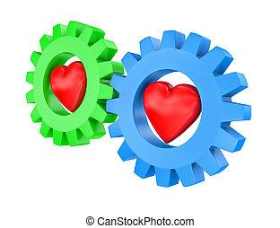 Hearts in gearwheels