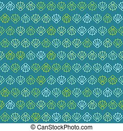 Green and Blue Sea Shells Pattern on Blue Background