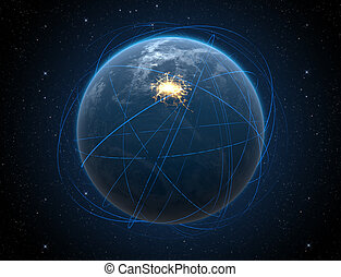Planet With Illuminated City And Light Trails - A generic...