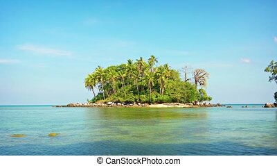 Small, Undeveloped Tropical Island with Wild Vegetation and...