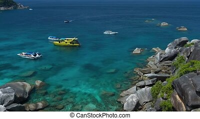 Tour Boats Anchored at One of Thailand's Famous Similan...