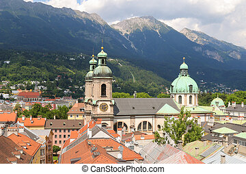Bird view roofd in Innsbruck city - Bird view of roofs and...