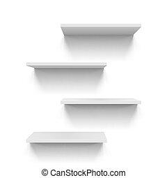 Shelves - Horizontal gray bookshelves on white background...
