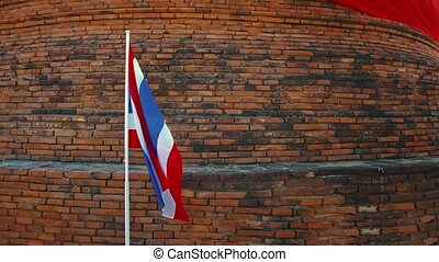 Thai National Flag in a Patriotic Presentation in Ayutthaya...