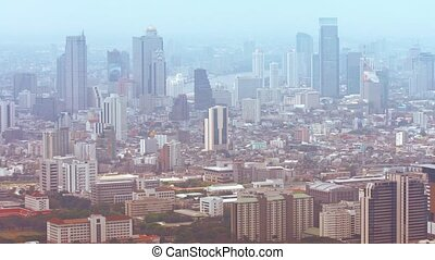 Cityscape of Downtown Bangkok, Thailand with Many High-rise...