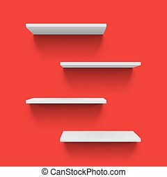 Shelves - Horizontal gray bookshelves on red background for...