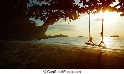 Beautiful Sunset on a Tropical Beach in Thailand, with Sound