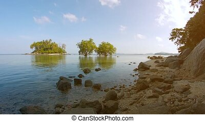 Tropical, Coastal Wilderness Area with a Small Island and...