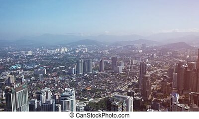 Panoramic Cityscape from atop a Skyscraper - video FullHD...