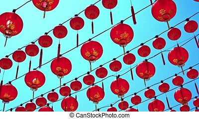 Rows of Chinese Lanterns Outside a Buddhist Temple - Video...