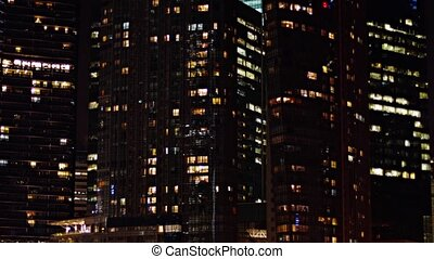 Commercial Office Towers in a Big City at Night - Video...