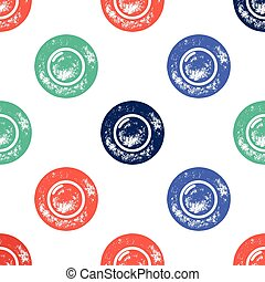 Blue, Red and Green Water Bubble Pattern on White Background