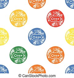 Yellow, Green, Blue and Yellow Submarine Pattern on White Background