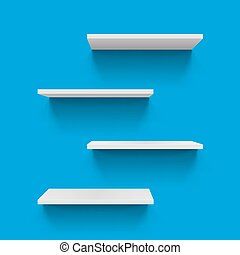 Shelves - Four Horizontal gray bookshelves on blue...
