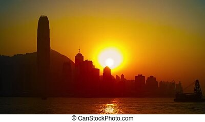 Hong Kong Skyline at Sunset - 1920x1080 video - Deep orange...