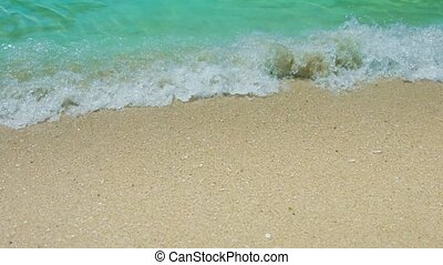 Gentle Waves Washing over a Tropical Sandy Beach - FullHD...