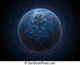 Planet With Illuminated Network And Light Trails - A generic...