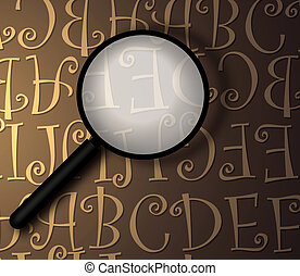 Magnifying glass with abstract text,2D art
