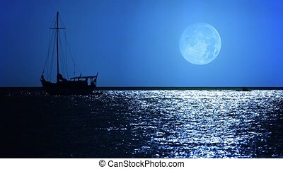 Sailboat under a Full Moon on a Tropical Sea - FullHD video...