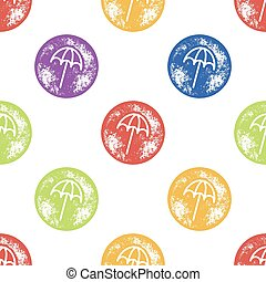 Yellow, Green and Blue Beach Umbrella Pattern on White Background