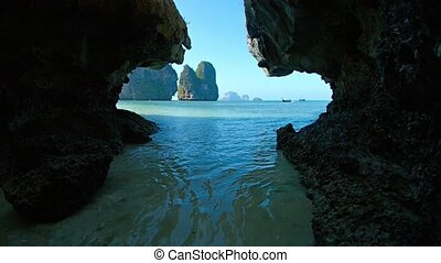 Limestone Formations in the Sea from a Cave, with Sound -...